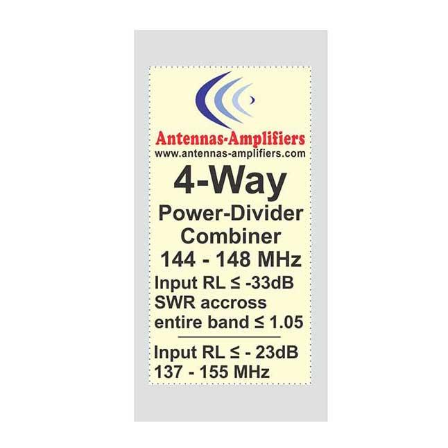 144 MHz Power Divider 4-Port Combiner for 2m Band 1/4wl.