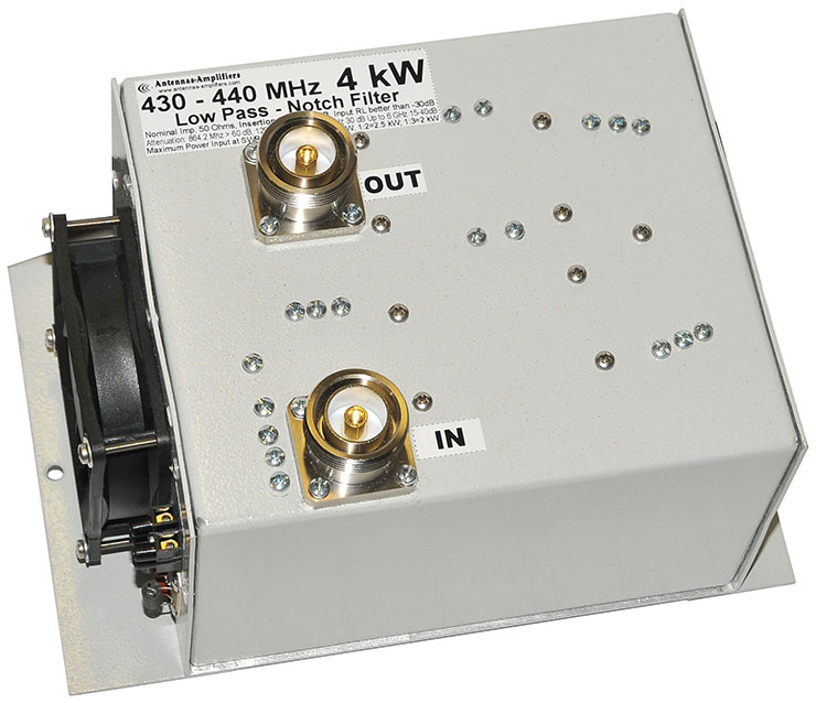 70cm 430 - 440 MHz High Power Low Pass Notch Filter 4 kW