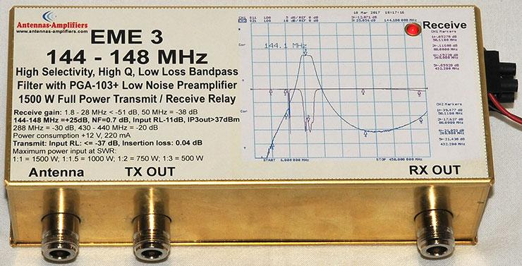 EME3 2m Low Loss Bandpass Filter PGA-103+ Preamplifier 1500W Transmit Receive Relay