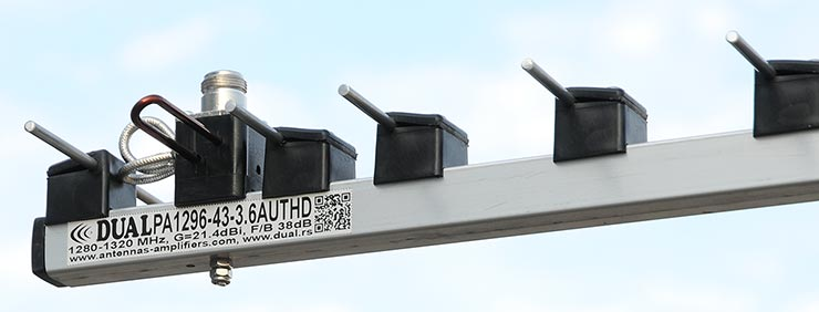 23cm-Low-Noise-Super-Yagi-Antenna-PA1296-43-3.6AUT-High-Power-Portable-Competition-Dipole-High-Power-Balun-View