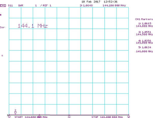 144mhz 8-element low-noise-antenna-measured-SWR
