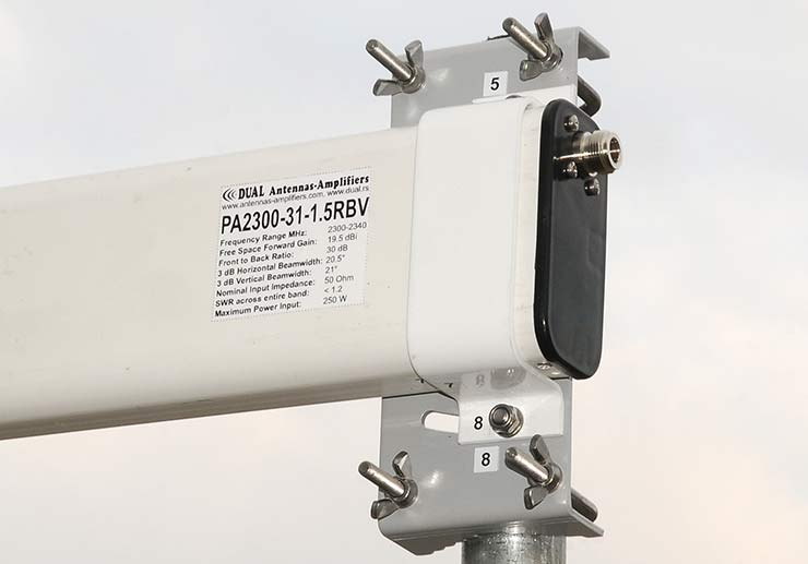 13cm Low Noise Yagi Antenna Vertical Polarization Connector and Bracket PA2300-31-1.5RBV