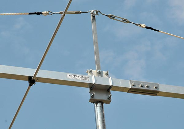 6m 6elements Magic Band Yagi Antenna PA50-60-6BGP Bracket Guy Rope Support and Label View