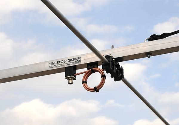 50MHz Long Boom Yagi Antenna PA50-8-10BGP Teflon Balun and Connector View