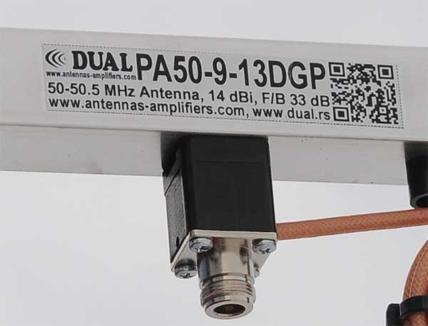 6m 50MHz Long Yagi Antenna PA50-9-13DGP Label Detail