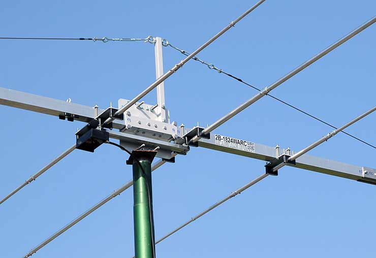 DualBand WARC Yagi Antenna 17m and 12m 2B-1824WARC Bracket Common Feed Line Element Mounting Guy Rope Support