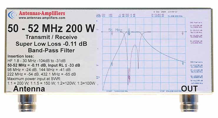 6m-200W-Ultimate-Super-Low-Loss-Bandpass-0.11dB-BPF-50-52MHz