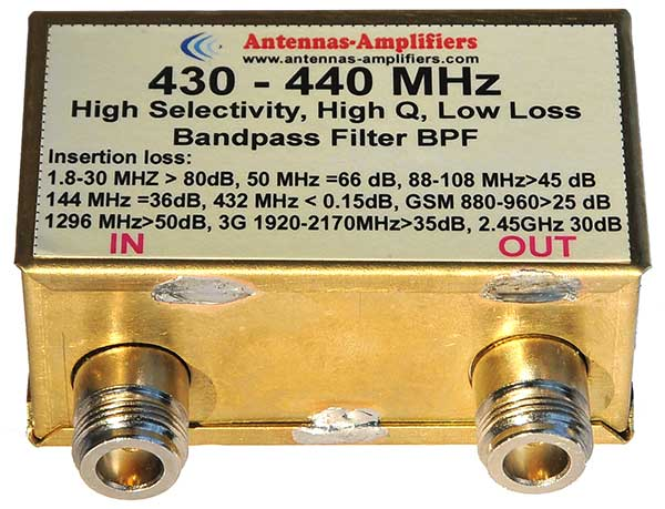 70cm-430MHz-432MHz-440MHz-Bandpass-Filter-Low-Loss-Outdoor