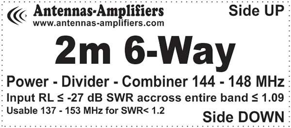 144 2m-Power-Splitter-6-Way 7/16 DIN Input connector