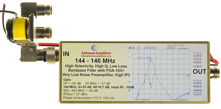 2m-144-Mhz-High-Selectivity,-High-Q,-Low-Loss-Bandpass-Filter-with-PGA-103+-Very-Low-Noise-Preamplifier-connected-with-coaxial-relay-CZX-3500-Made-By-antennas-amplifiers.com