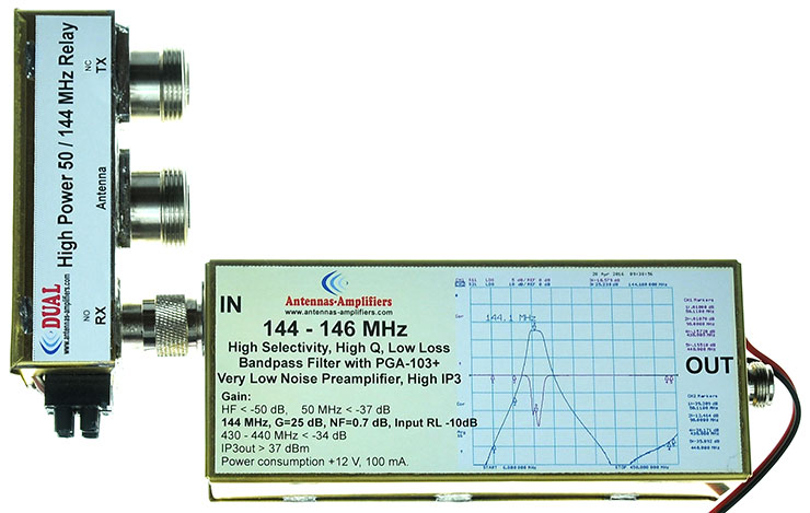 2meter-144-MHz-Low-Loss-Bandpass-Filter-with-PGA-103+-Low-Noise-Preamplifier-QRO-relay-Made-By-antennas-amplifiers.com