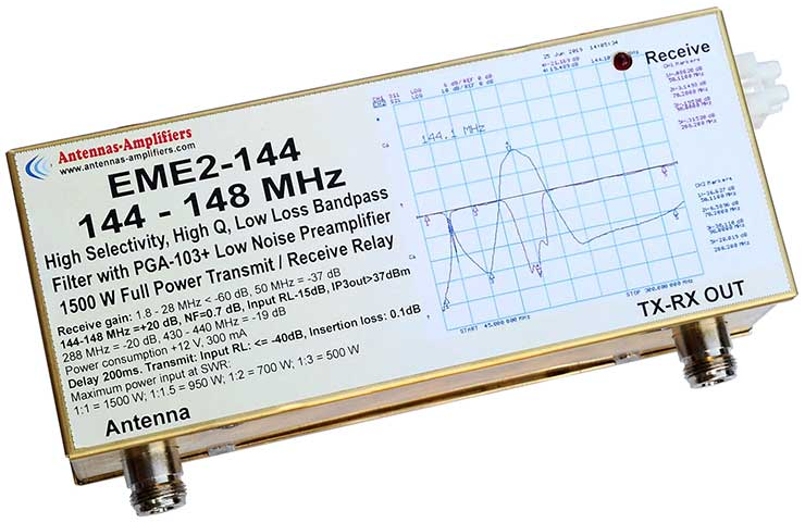 144.1MHz EME Transmit Receive Relay Switch Low Noise Preamplifier with integrated Band-Pass Filter Full Power 1500W EME2-144