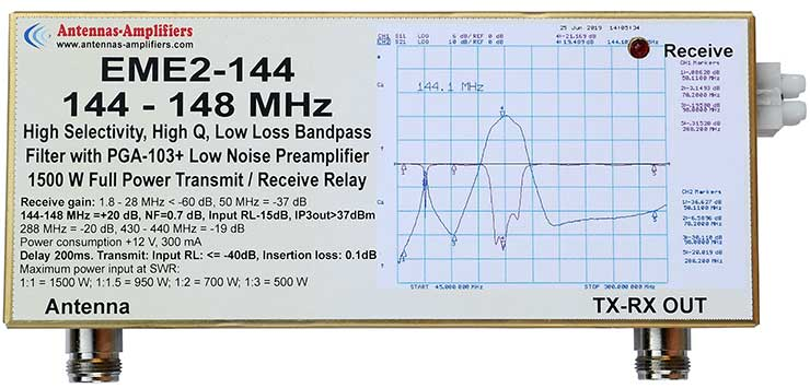 144-148MHz 1500W Relay Switches Low Noise Preamplifier and Band Pass Filter EME2-144