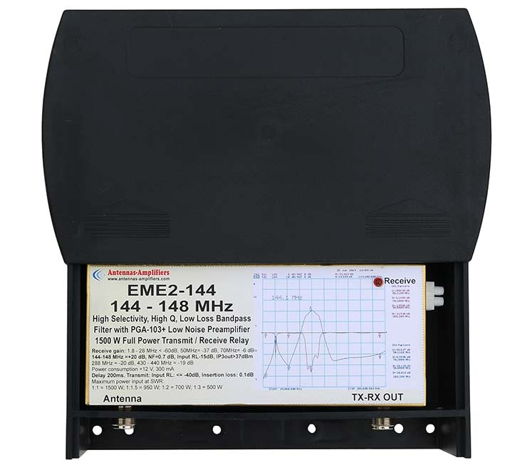 144-148MHz Outdoor version QRO Relay Switches Low Noise Preamplifier Band Pass Filter 1500W EME2-144