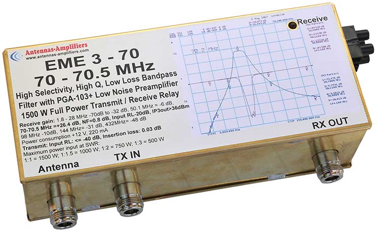 70-70.5MHz Transmit/Receiving Relay Switches with Band-Pass Filter Low Noise Preamplifier EME3-70