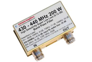 70cm 200 W Transmit - Receive Band Pass Filter BPF 430 - 432 - 440 MHz