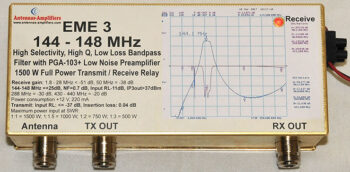 EME3-144 Band-Pass Filter, Preamplifier and T/R Relay