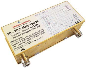 70 - 70.5 MHz 100W  Transmitting - Receiving Low Loss Bandpass Filter