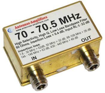 70 - 70.5 MHz Economic Low Loss Receiving Bandpass Filter for 4 Meter Band