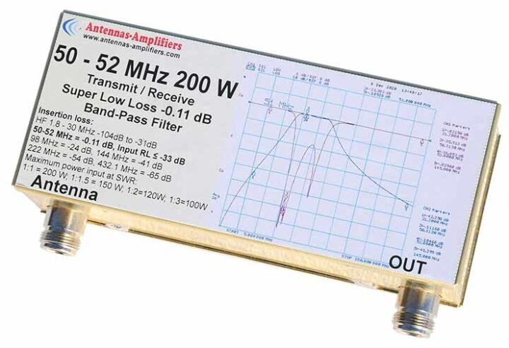 6m 50 - 52 MHz 200 W Super Low Loss Band-pass Filter