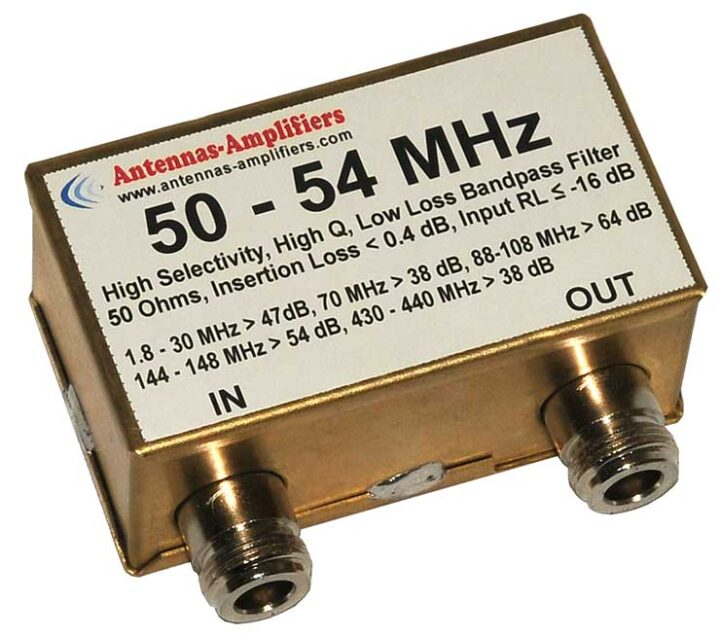 50 - 54 MHz Economical Receiving Low Loss Bandpass Filter