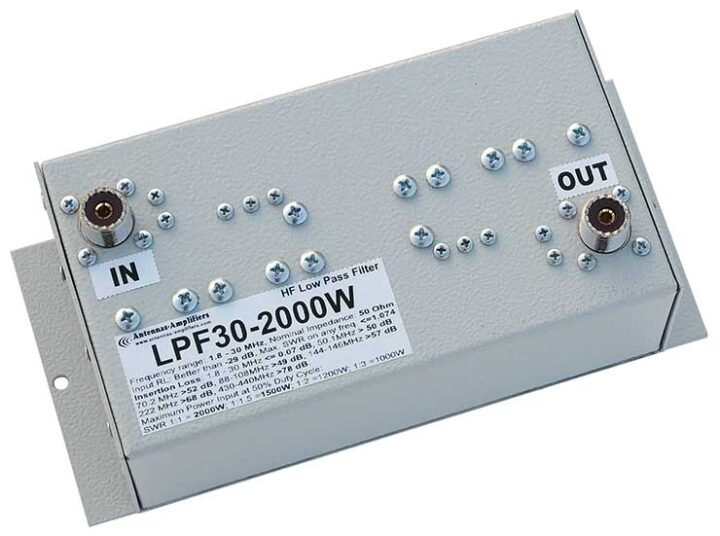 HF Lowpass Filter 2000W Extreme Low Loss LPF30-2000W