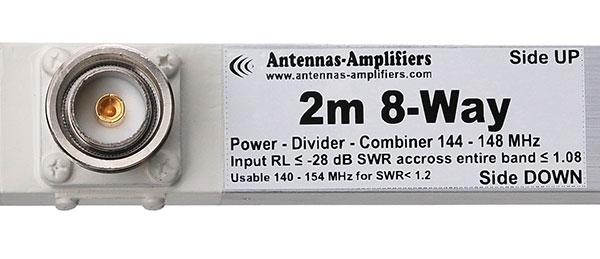 144 MHz Wide band power divider splitter 8-port 7/16 DIN Input