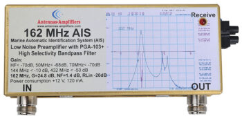 162 MHz AIS Marine Tracking Low Noise Preamplifier with Bandpass Filter