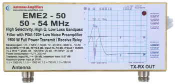 EME2-50N Low Loss 6m Band Pass filter. Low Noise Preamplifier with QRO 1500W T/R Relay